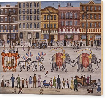 Circus Parade Wood Print by Linda Mears