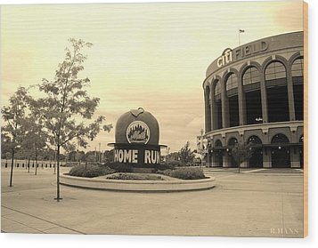 Citi Field In Sepia Wood Print by Rob Hans