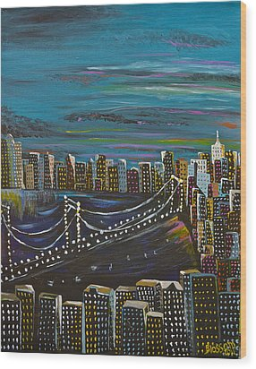 Citiscape Wood Print by Donna Blossom
