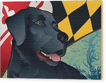 Maryland Black Lab Wood Print
