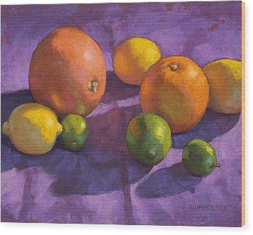 Citrus On Purple Wood Print by Sarah Blumenschein