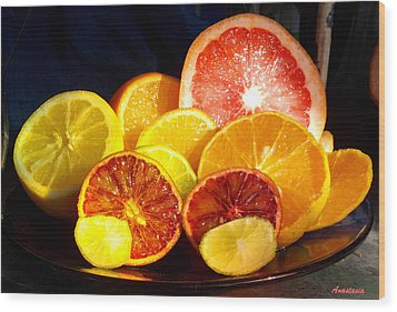 Citrus Season Wood Print by Anastasia Savage Ealy