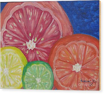 Citrus Slices Wood Print by Laurie Morgan