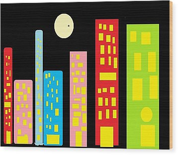 City 23 Wood Print by Ronald Weatherford