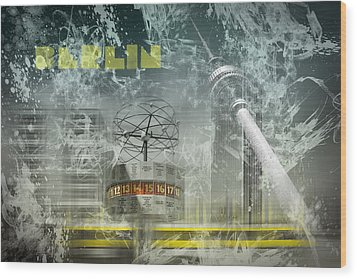 City-art Berlin Alexanderplatz  Wood Print by Melanie Viola