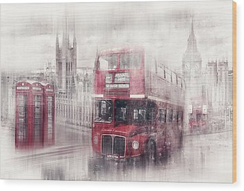 City-art London Westminster Collage II Wood Print by Melanie Viola