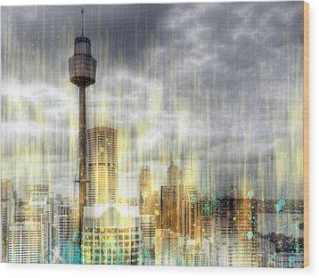 City-art Sydney Rainfall Wood Print by Melanie Viola
