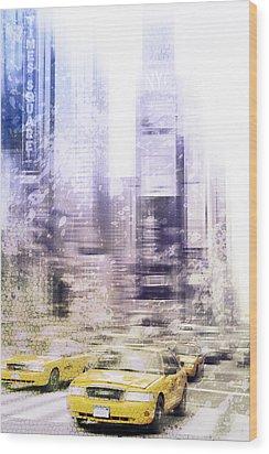 City-art Times Square I Wood Print by Melanie Viola