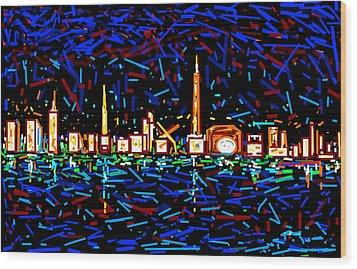 City At Night-2 Wood Print by Anand Swaroop Manchiraju