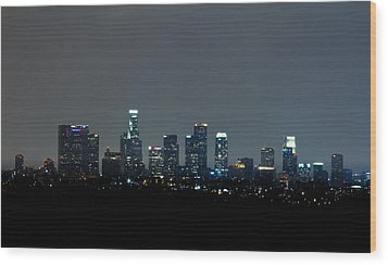 City At Night Wood Print by Andrew Raby