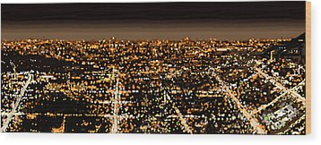 Wood Print featuring the painting City At Night by Shabnam Nassir