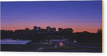 City At The Edge Of Night Wood Print by Metro DC Photography