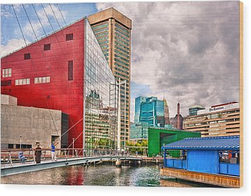 City - Baltimore Md - Harbor Place - Future City  Wood Print by Mike Savad