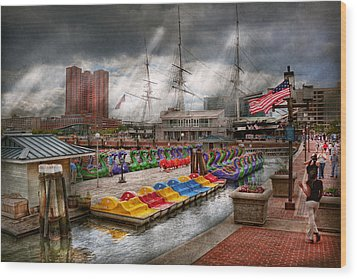 City - Baltimore Md - Modern Maryland Wood Print by Mike Savad