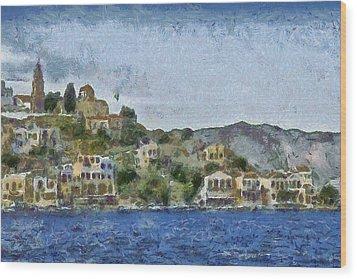 City By The Sea Wood Print by Ayse Deniz