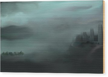 Wood Print featuring the painting City By The Sea by Jessica Wright