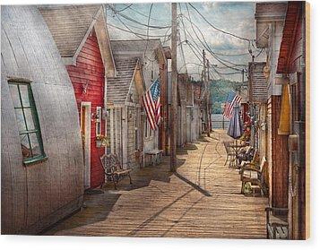 City - Canandaigua Ny - Shanty Town  Wood Print by Mike Savad