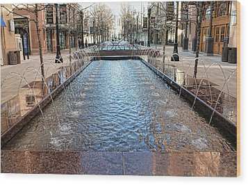 Wood Print featuring the photograph City Creek Fountain - 1 by Ely Arsha