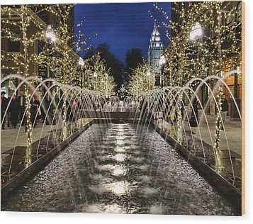 Wood Print featuring the photograph City Creek Fountain - 2 by Ely Arsha