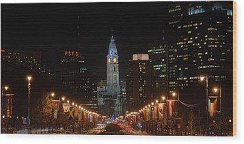 City Hall At Night Wood Print by Jennifer Ancker