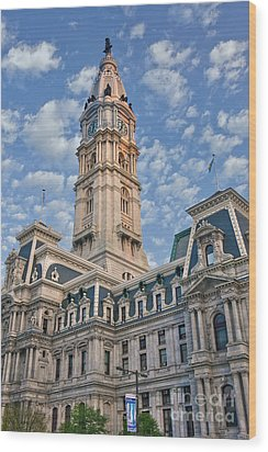 City Hall Clock Tower Downtown Phila Pa Wood Print by David Zanzinger