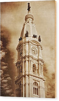Tower Of City Hall - Downtown Philadelphia - One Penn Square Wood Print by Photography  By Sai
