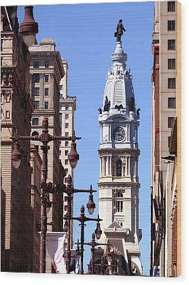 Wood Print featuring the photograph Philadelphia City Hall From Broad St by Christopher Woods