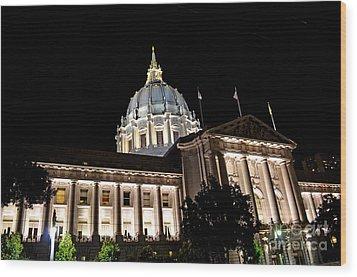 City Hall San Francisco At Night Wood Print by Jim Fitzpatrick