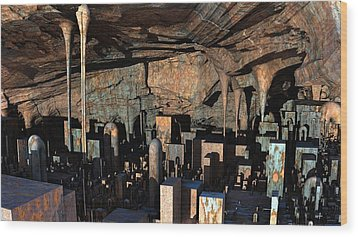 City In A Cavern Wood Print
