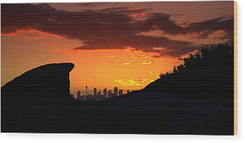 Wood Print featuring the photograph City In A Palm Of Rock by Miroslava Jurcik