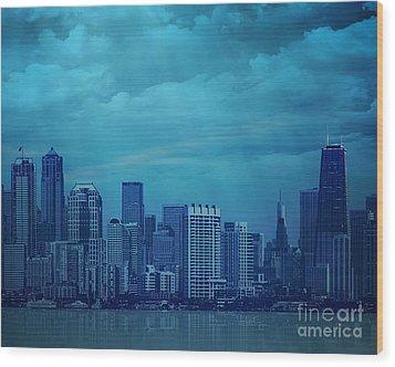 City In Blue Wood Print by Bedros Awak