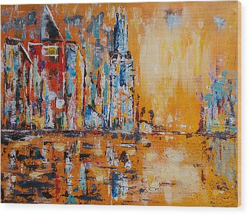 City In Gold Wood Print