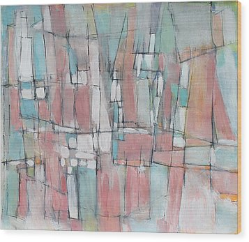 City In Peach And Turquoise Wood Print by Hari Thomas