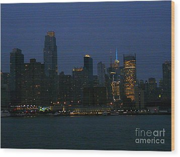 City Lights Of New York Wood Print by Avis  Noelle