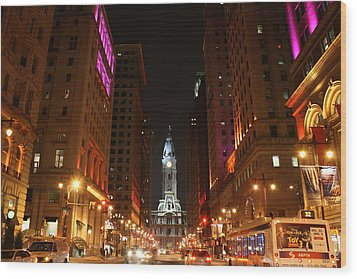 Philadelphia City Lights Wood Print