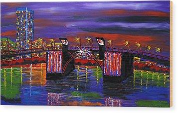City Lights Over Morrison Bridge 6 Wood Print by Portland Art Creations