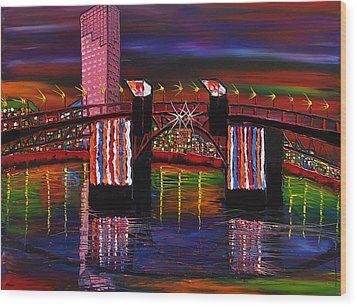City Lights Over Morrison Bridge 8 Wood Print by Portland Art Creations