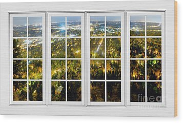 City Lights White Window Frame View Wood Print by James BO  Insogna
