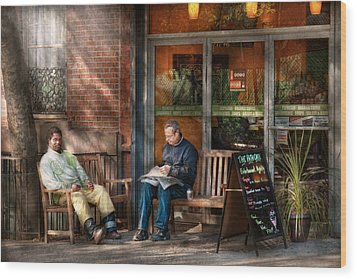 City - New York - Greenwich Village - The Path Cafe  Wood Print by Mike Savad
