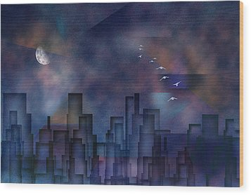 City Night Wood Print