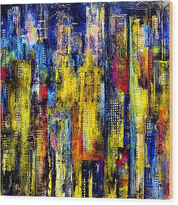 Wood Print featuring the painting City Nightime Metropolis by Katie Black
