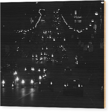 City Nights Wood Print by Empty Wall