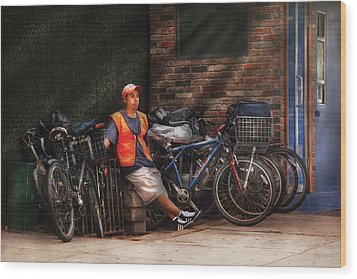 City - Ny - Waiting For The Next Delivery Wood Print by Mike Savad