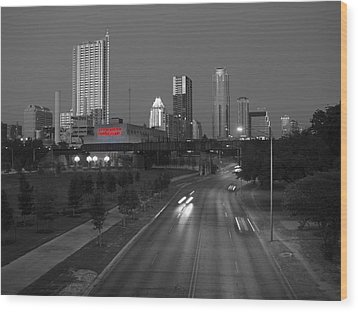 City Of Austin Power Plant Wood Print