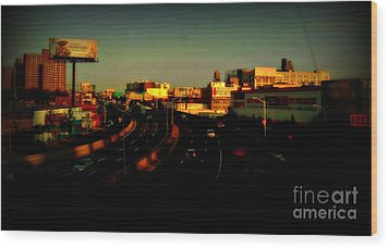 City Of Gold - New York City Sunset With Water Towers Wood Print by Miriam Danar