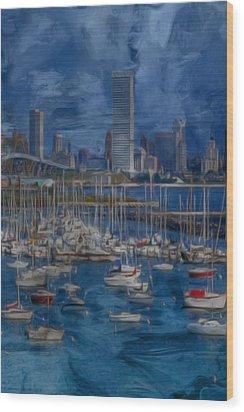 City Of Milwaukee Along Lake Michigan Wood Print by Jack Zulli