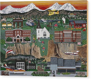 Wood Print featuring the painting City Of Redmond by Jennifer Lake
