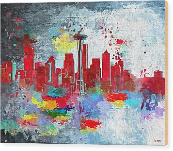 City Of Seattle Grunge Wood Print