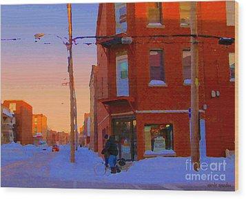 City Of Verdun Winter Sunset Pierrette Patates Art Of Montreal Street Scenes Carole Spandau Wood Print by Carole Spandau