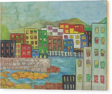 City On The Canal Wood Print